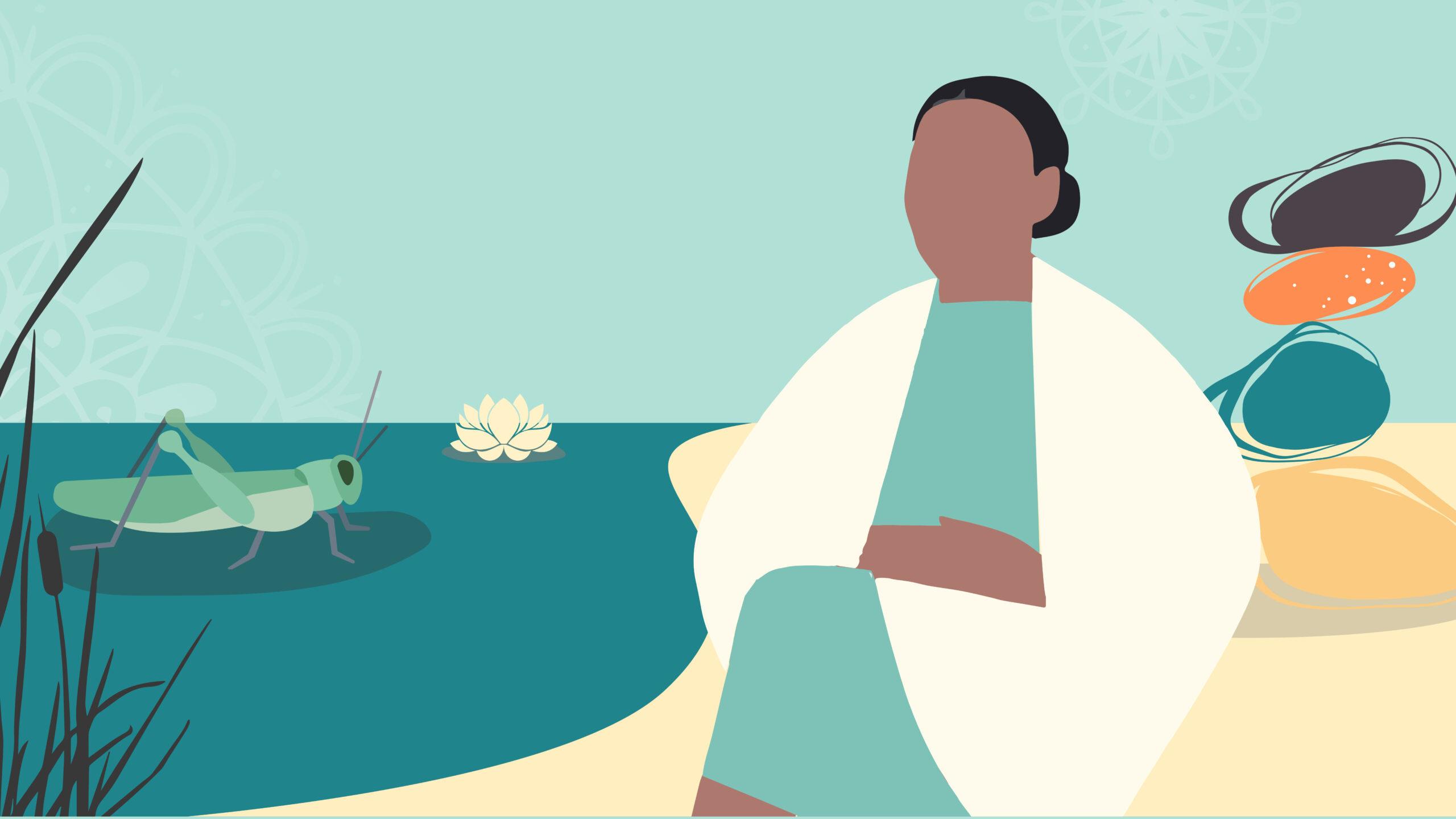 artwork of lady sitting by sea